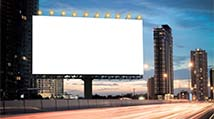 blank billboard with ckustomers speeding past